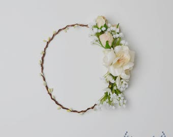 Flower Crown, Boho Flower Crown, Silk Flower Crown, Bridal Flower Crown, Wedding Flower Crown, Baby's Breath, Cream, Beige, Ivory, White