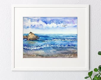 Original watercolor painting, Handmade landscape painting, watercolor landscape, blue sea, house gift, wall art, home decor