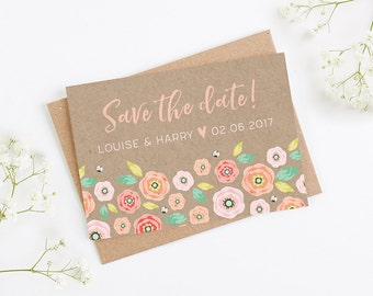 Bright Floral Kraft Folded Save the Date