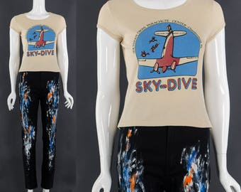 Vintage SKY DIVE Tshirt Rare 60's 70's Airplane Baby Tee Vintage Ringer Tee Adrenaline Junkie Small