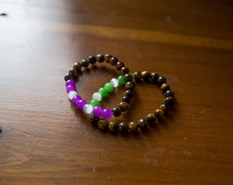 Bright and brown bracelets