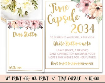 Time Capsule, First Birthday Time Capsule, 1st Birthday Time Capsule, Floral Time Capsule, Time Capsule Sign, Time Capsule Printable