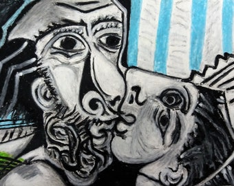 Pablo Picasso Kiss famous painting reproduction , Oil pastel drawing copy , Original reproduction
