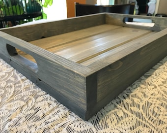 Wood Serving Tray, Farmhouse Tray, Rustic Wood Tray, Ottoman Tray, Kitchen Tray, Gray Stained Wood Tray