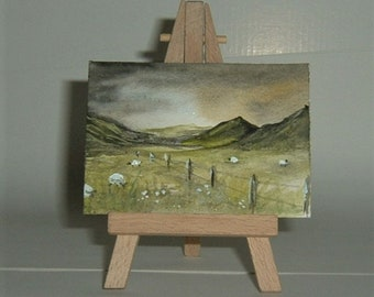 aceo art painting Welsh valley sheep (ref E169)