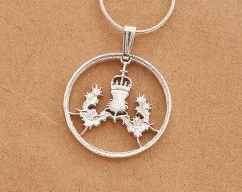 "Sterling Silver Scottish Thistle Pendant, Hand cut Scottish Thistle Coin , Scottish Coin Jewelry, 7/8"" in diameter ( # 137S )"