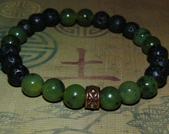 Lava Rock Beads with Jade Beads Copper Zen Man Bracelet