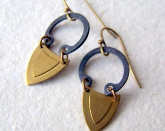 Brass Shield Earrings with Retaining Rings