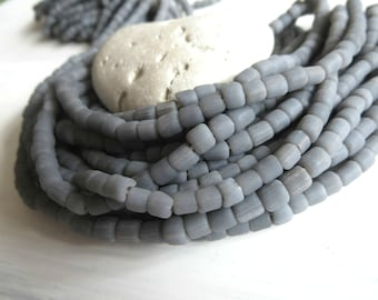 small matte  seed bead, opaque grey glass bead, irregular barrel tube spacer, New Indo-pacific 3 to 6 mm / 22 inche strand - 5A4-4