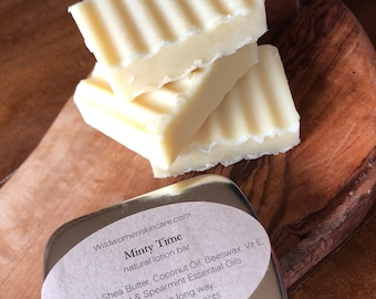 Solid Lotion Bar, Minty Time, Gift for him, Hand Lotion, Solid Body Bar