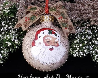 Hand Painted Santa Face Ornament,Christmas Santa Claus,Santa Ornament, Vintage Santa,Painted Ornaments