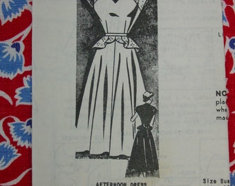 Vintage Pattern c.1940's Mail Order No,.8419 Dress with Peplum Size 13 Bust 31