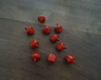 set of 10 beads - Bell - metal charms - Red