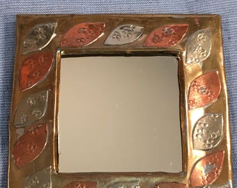 """Small Square Mirror 3 1/2"""" Gothic Goth Upscaled Vintage with Brass and Copper and Silver Leaf Designed Frame"""