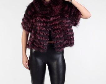 Luxury gift/ Purple Color  fox Fur Vest with / Wedding,or anniversary present/PANDORA