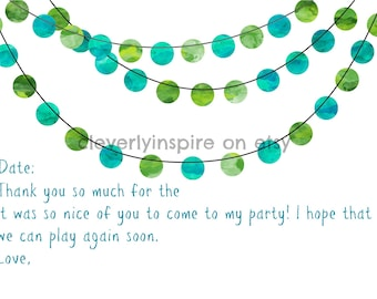 Kids Printable thank you note, fill in, download, aqua, birthday party