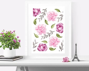 Nursery wall art, Nursery decor girl, Watercolor flowers print, Floral print art, Floral wall art, Home decor wall art,  Girly wall art