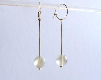 Solid gold dangling dramatic moonstone handmade drop modern earring  hoop  jewelry amy kreiling moonstone jewelry