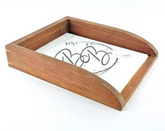 Walnut Paper Tray Organizer