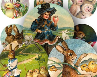 Easter Bunnies and Chicks from Bright Vintage Victorian Postcards in 1.5 inch Circles One -- printables by piddix digital collage sheet  266