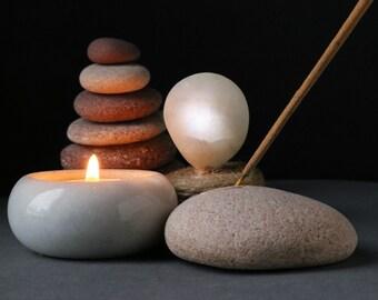 Incense Holder - Meditation Altar - Sacred Space - Beach Stone Incense Burner - Coastal Rustic Home Decor