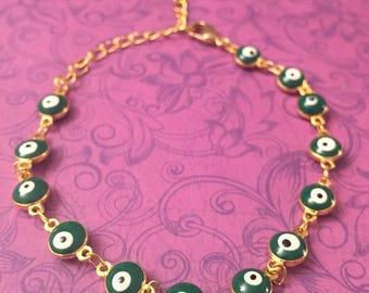 Evil Eye green mini enamel gold chain bracelet, evil eye bracelet, protection jewelry, good luck, women's bracelets