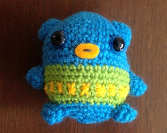 Wise owl. Crochet toy owl. Cute toy. Gift for child. Amigurumi toy. Blue green yellow stuffed toy. Crochet owl