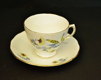 Yellow Flower Bone China Teacup from Royal Vale