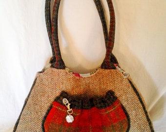 Traditional Harris Tweed Shoulder Bag Handmade.
