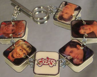 Grease print art clasp bracelet - Nostalgia Jewelry - John Travolta Jewellery