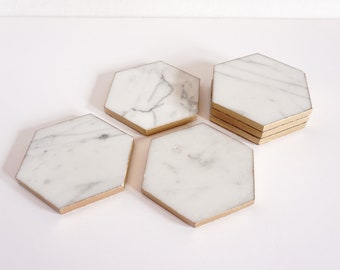 Marble and Gold Hexagon Coaster Set