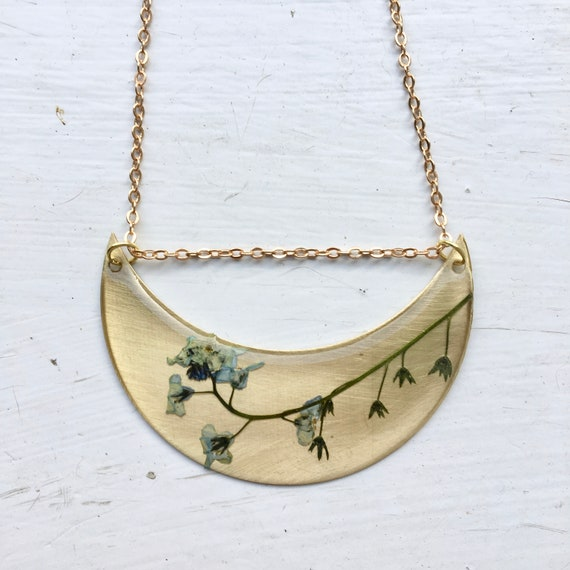 Forget-me-not  flower brass crescent necklace