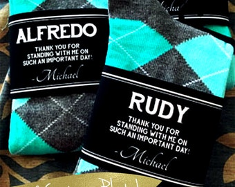 Socks Personalized Groomsmen Gifts Wedding / Unique Groomsman & Usher Gift / Personalized Groomsmen Socks Wedding / Labels for Socks