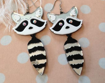 Raccoon Heads and Tails Earrings, Laser Cut Acrylic, Plastic Jewelry