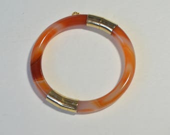 Vintage Orange Red Agate Gold Hinged Bangle Bracelet 58 mm
