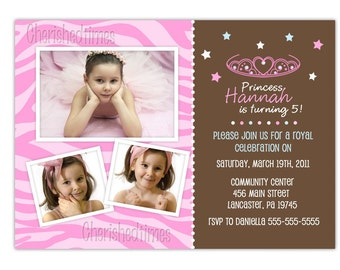 Modern Princess Birthday Photo Card Invitation-Choose Background- (You Print)