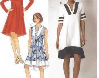 Womens Lagenlook Dress Pullover High Low Hemline Sleeve Variations Butterick Sewing Pattern B6209 Size 14 16 18 20 22 Bust 36 18 40 42 44 FF