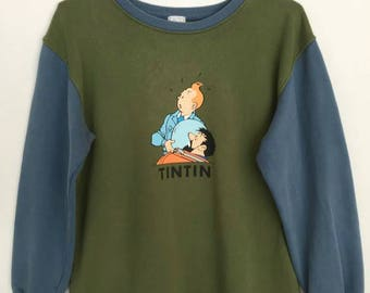 Rare!! Tin Tin And Snowy Spellout Cartoon Movie Sweatshirt