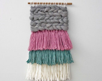 Woven Wall Weaving, Woven Wall Hanging, Baby Girl Gift, Textured Wall Weaving, Fiber Art, Yarn Hanging, Nursery Art, Baby Room Art