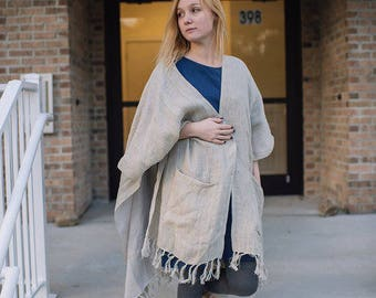 Linen Double Sided Sheer Poncho
