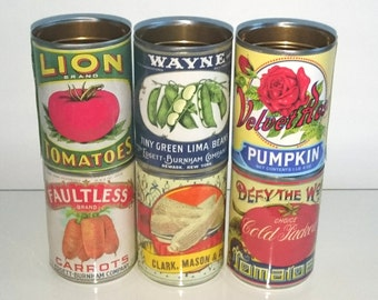 Vintage replica  tin cans label storage for home, cutlery holder, cafes, shop & restaurant  display. Props with or without reuseable lids