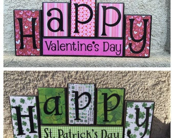 St. Patrick's Day blocks - reversible black