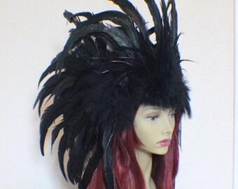 Custom full black feather headdress