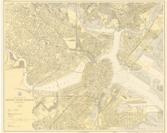 Boston Inner Harbor Map 1921