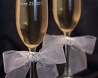 Rhinestone Rings Wedding Toasting Glasses - Custom Engraving Available - 30330