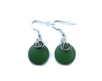 Green Sea Glass Earrings, Green Beach Glass Earring, Lime Green Earrings, Recycled Glass Earring, Bright Green Dangle, Green Drop Earring