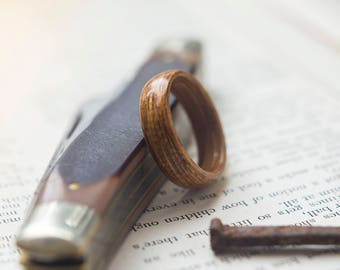 Mens Wooden Wedding band made from Oak, Mens wedding band