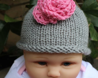 Newborn Baby Girl Hat, Infant Hat, Easter Hospital Hat Baby Shower Gift, Flower Hat Gray and Pink Crochet Rose Knit Hat, Baby Beanie Costume