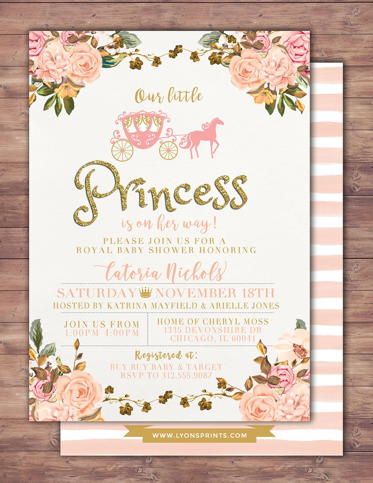 Princess Baby Shower Invitation Princess Carriage Baby Shower ...