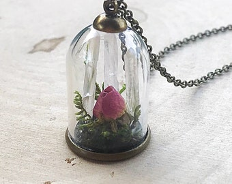 Crystal Garden Terrarium Pendant, Reiki-Infused Clear Quartz Bell Jar Necklace, Natural Healing Stone, Real Flower Statement Jewelry, Boho
